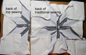 """BACK or SEAM SIDE-the one on the right is where I followed """"exact"""" directions.."""